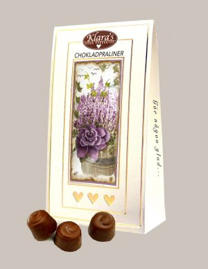 Chokladpraliner med höstblomma på förpackning